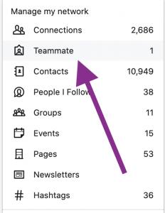 LinkedIn teammate menu