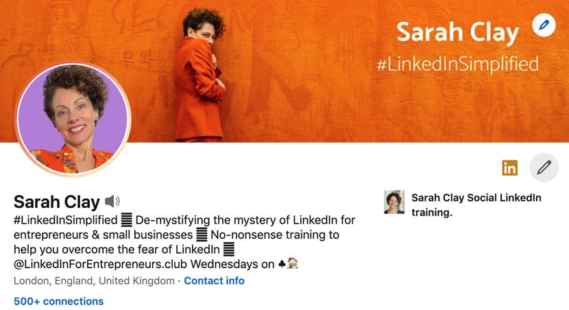 Screenshot of Sarah Clay's LinkedIn Profile
