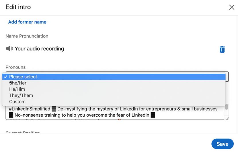 Screenshot to show dropdown menu from LinkedIn screen