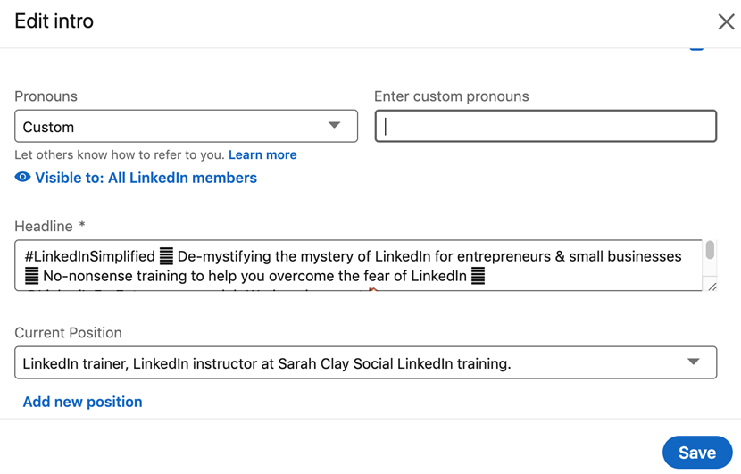 Screen shot from LinkedIn